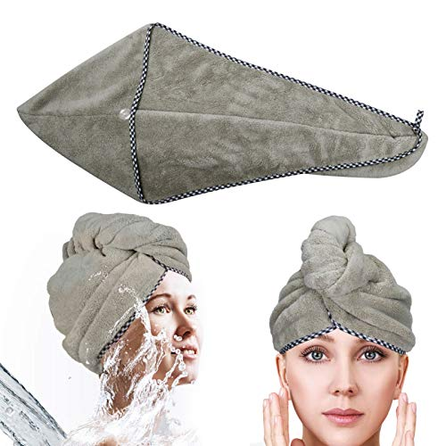 Microfiber Hair Towel, Microfiber Hair Towel for Curly Hair Soft Coral Fleece Super Absorbent Quick-drying Durable Edging With Button(Brown 10''×25'')