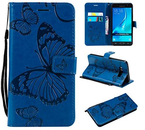 WindTeco Funda Samsung Galaxy J7 2016, Mariposa Patrón Funda Piel Libro Shock-Absorción Carcasa Cartera Flip Billetera con Soporte y Ranuras de Tarjeta para Samsung Galaxy J7 2016, Azul