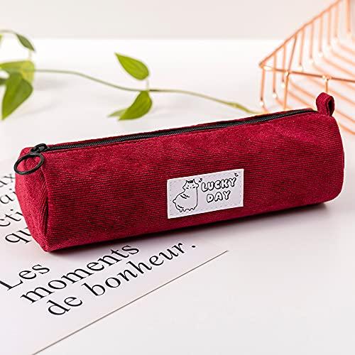 CNYG Estuche simple pana multifunción lápiz bolsa de maquillaje suministros escolares oficina papelería para estudiantes adultos rojo 20.5x6cm