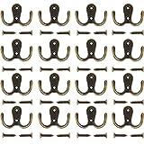 Umsole - 10 perchas con dos ganchos para ropa y 20 tornillos de níquel mate, estilo retro, marrón