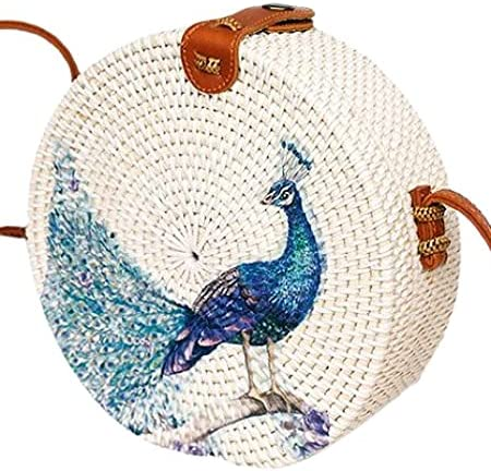 Peacock and Butterfly Decoupage Rattan Bali Bag