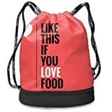 OKIJH Mochila Mochila de ocio Mochila con cordón Mochila multifuncional Bolsa de gimnasio Like This If You Love Food Men And Women General Backpack Multifunctional Bundle Backpack Fashion Travel Backp