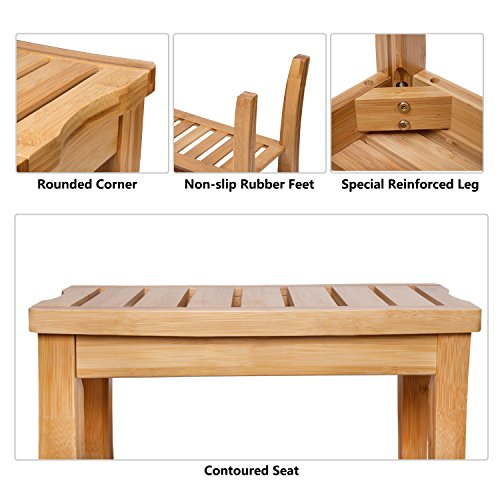 Shower Bench Seat, HBlife 100% Deluxe Indoor Outdoor Patio Garden Yard Bamboo Stool Bench with Storage Shelf Bathtub Shower Chair