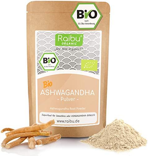 Raibu® Ashwagandha Premium BIO Pulver (250g) | 100% ECHTE Ashwagandha Pulver | Indischer Ginseng Ayurveda, Withania Somnifera