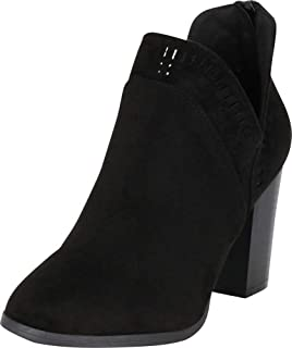 Cambridge Select Women's Western Laser Cutout Chunky Stacked Heel Ankle Bootie