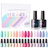 Gellen Gel Nail Polish Kit, 16 Colors With Top Base Coat - Bright Vibrant Rainbow Neon Collection Solid Colors, Trendy Bright Party Nail Art Colors Home Gel Manicure Kit
