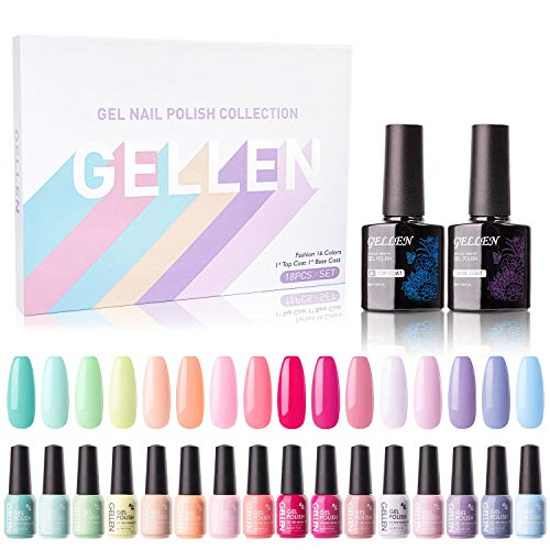 Gellen 16 Colors Gel Nail Polish Kit, With Top Base Coat - Bright Vibrant Rainbow Neon Collection Solid Colors, Trendy Bright Party Nail Art Happy Colors Home Gel Manicure Set