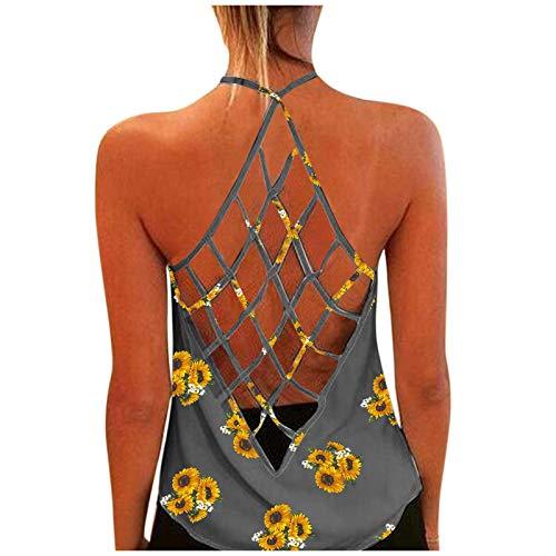 RONGYP Vestido de verano para mujer, informal, suelto, estampado de flores, cuello en V, sin mangas, elegante, vestido de playa, bohemio. gris XXL