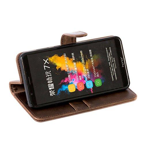 Mulbess Handyhülle für Honor 7X Hülle, Leder Flip Case Schutzhülle für Huawei Honor 7X Tasche, Vintage Braun - 3