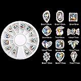 Yolispa Arte de Uñas Decoración de Diamantes de Imitación de Arte de Uñas Punta Etiqueta Sparkle Rhinestone Accesorios Uñas Herramientas