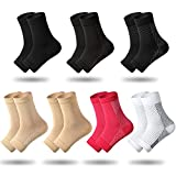 7 Pairs Compression Foot Sleeves Ankle Compression Socks for Foot and Heel Pain Relief for Everyday Use with Arch Support Men and Women (Size L, Size XL)