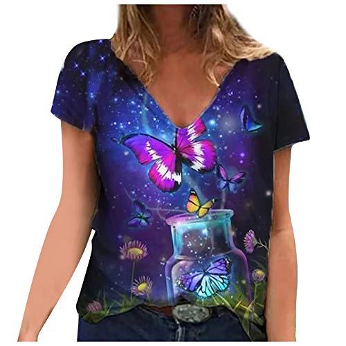 LalalukaTShirtDamenOberteileMode Druck V-Ausschnitt Loose Sommer Bluse T-ShirtFrauenTShirtOberteilTunikaTopTshirtHemdLongshirtKurzarmshirtSweatshirtTee