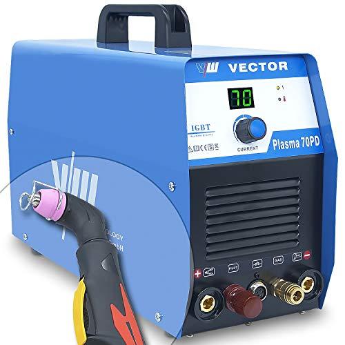 Plasmaschneider Plasmaschneidgerät Plasmacutter Cut mit 70 Ampere | Schneidet bis 24 mm - Pilotzündung (kontaktlos) - 400 Volt - digitales Anzeigendisplay von Vector Welding