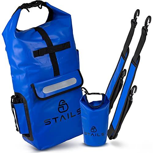 STAILS® Dry Bag 20l inkl. wasserdichte Innentasche - bequem & hochwertig - ideal als wasserdichter Rucksack für Kanu oder Kajak Touren - neuartiger Drybag Packsack für Abenteurer