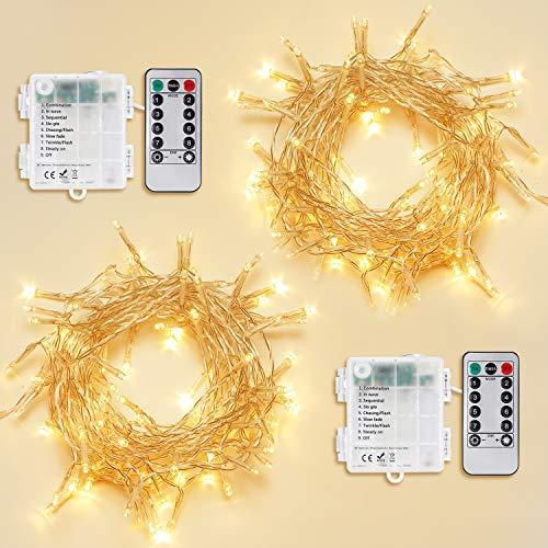 2stk 100er Lichterkette Außen mit Timer,OxyLED 2 * 10M IP65 Wasserdicht 8 Modi Batterie Lichterkette außen Innen mit Fernbedienung und Timer,Dekorativ Lichterkette für Garten Party Weihnachten