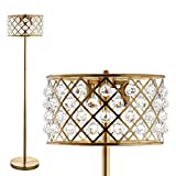 JONATHAN Y JYL9000A Elizabeth 60' Crystal/Metal LED Floor Lamp, Contemporary, Transitional for Bedroom, Living Room, Brass Gold