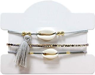 3 pcs./Set Cowrie Shell Charm Seed Beads Tassel Adjustable Bracelets (GREY)