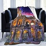 Colosseum Rom Italien Micro Fleece Decke Superweiche leichte faltenresistente Tagesdecken die ganze Saison über für Home Office-Reisen