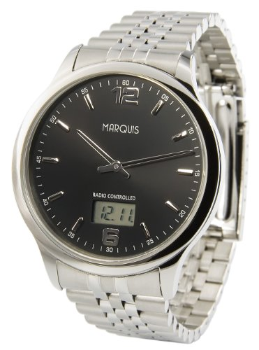 Elegante MARQUIS Herren Funkuhr (Junghans-Uhrwerk) Gehäuse und Armband aus Edelstahl 964.6123