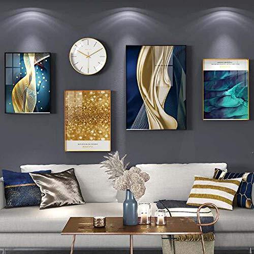 WANGXINQUAN Pintura para decoración de sala de estar, sofá, fondo para colgar en la pared, moderno y minimalista comedor con reloj y combinación mural de 195 x 93 cm (cantidad: 5)