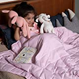 Syrinx 7 lbs Weighted Blanket for Kids Pink with Glass Beads