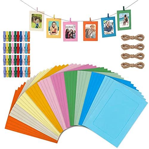 40 Pcs Marcos de Fotos de Papel de Colores Marcos de Papel de Clip 4 Cuerdas Colgantes Marcos de Fotos de Papel de Bricolaje Marcos de Cartón Para la Decoración de La Sala de Clases del Hogar