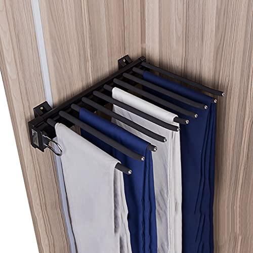 FKDEKUZI Trouser Hanger Rack for Closet,Extendable Pants Holder Shelf with 10 Arm,Wardrobe Organizer Storage Rack - Black