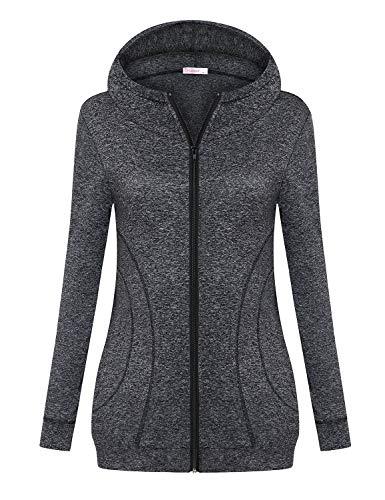 Misswor Lightweight Sweatshirts for Women XXL,Junior Biking Jogging Activewear Jackets Cotton Shirts with Zipper Casual Trendy Crewneck Hoodies Unisex Plus Size Burnout Apparel Grey XX-Large