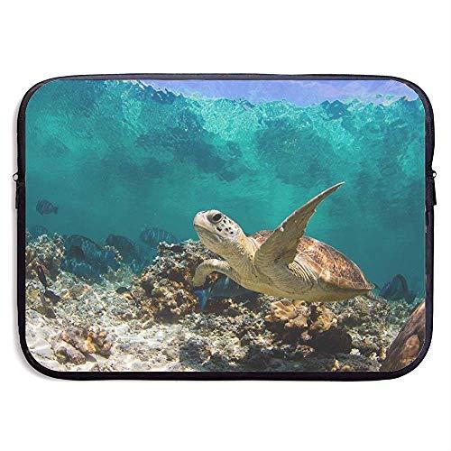 Schildpad op zoek naar voedsel in de Coral 15 Inch Laptop Sleeve Bag Draagbare Rits Laptop Bag Tablet Bag