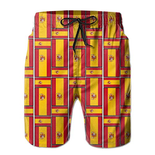 DLing Herren Badehose Spanien Flagge Puzzle Quick Dry Beach Board Shorts,XL