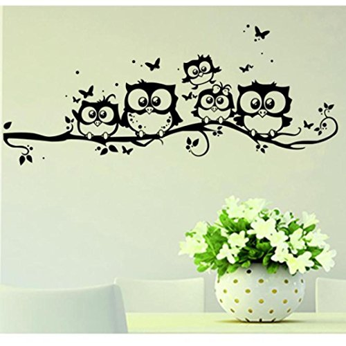 DAY8 Stickers Muraux Enfants Garçon Fille Stickers Muraux Chambre Adultes Arbre Papillon Fleurs Papiers Peints Salon Créatif Amovible DIY Décorations Stickers Autocollant Mural Cuisine Salle de Bains (Noir)