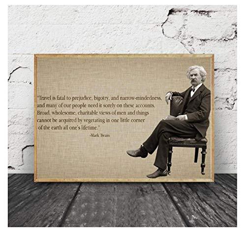 DNJKSA Póster e Impresiones de Mark Twain, Lienzo artístico Impreso, Pintura de Arte de Pared para Sala de Estar, decoración del hogar, 24x36 en sin Marco