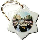 Barcos de Crucero, Amstel Canal, Ámsterdam, los Países Bajos Eu20 Mgl0074 Miva Stock Copo de Nieve Ornamento, Porcelana, 3 Pulgadas
