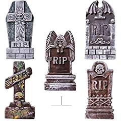 【Halloween Gravestones】Perfect Halloween Decoration for your Home,Graveyard Scenes or Halloween Party! They make a Creepy addition to Halloween decor. 【Easy to Use】Simply insert two heavy-duty stakes into each party yard ornament and plug in the grou...