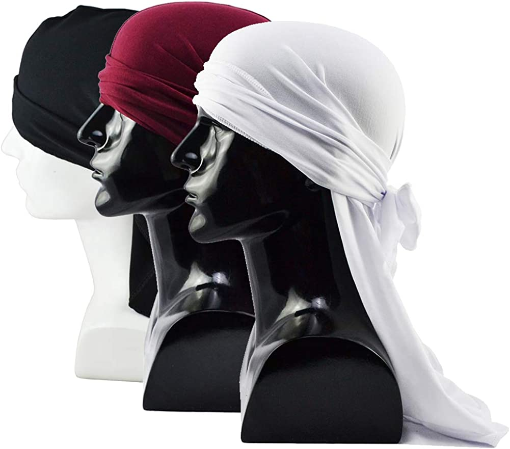 Haisiluo National products Silky Soft Miami Mall Men Durag Headwraps and Tail Extra with Long