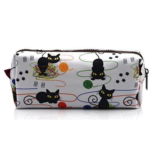 Cat Pencil Case Cats and Yarn Knitting Notion Pouch Kitten Makeup Bag Gift for Cat Lovers Pencil Pouch Small Cosmetics Bag
