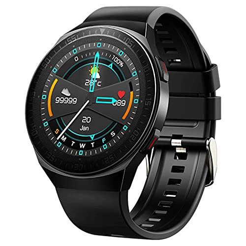 HJYBYJ M-T3 Smart Watch Men 8G Memory Music Bluetooth Call SmartWatch Pantalla Táctil Completa Pulsera De Grabación Impermeable para iOS Android (Color : Black)