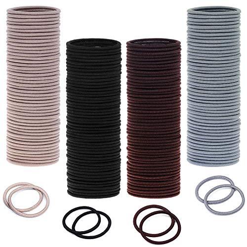 Hair Ties, Paxcoo 200 Pcs Hair Ties Bulk 4mm Hair Bands Small Hair Elastics Ponytail Holder for Thick Hair (Neutral Colors)