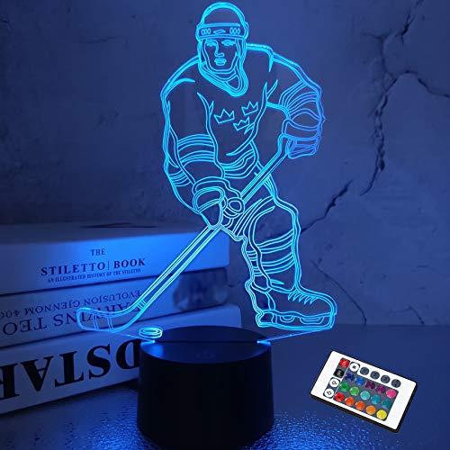3D Nachtlichter Eishockeysportler 3D Illusion Nachttischlampe 7 Farben ändern sich mit RGB Beste Geburtstagsgeschenke für Männer Frauen