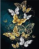 SULISO Kit de Inicio de Bordado 11CT, Juego de Herramienta de Punto de Cruz con Patrón e Instrucciones, Mariposas voladoras 35x50cm