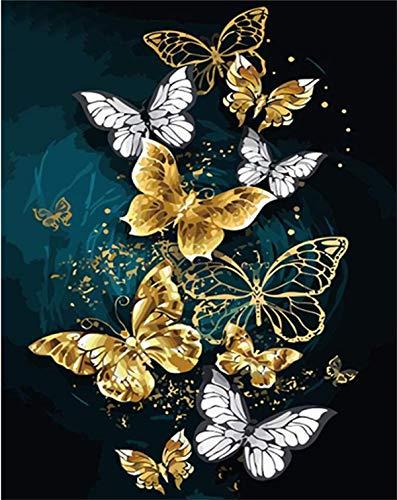 SULISO Kit de broderie Comprend un Manuel en Français, au point de croix Motif facile pour filles Artisanat DMC Kit estampillé 11 carats, Papillons volants 35x50cm