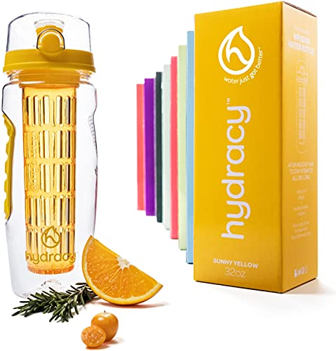 Hydracy Fruit Infuser Water Bottle - 1Litre Sport Bottle - Time Marker & Full Length Infusion Rod +27 Fruit Infused Water Recipes eBook Gift -Your Healthy Hydration Made Easy - Sunny Yellow