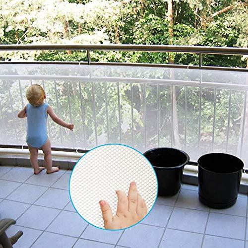 LIUNA Red de seguridad, balcón, patios y barandillas para escaleras, red de seguridad para niños/mascotas/juguetes, tejido de red resistente (color: blanco, tamaño: 2,5 x 6,6 pies)
