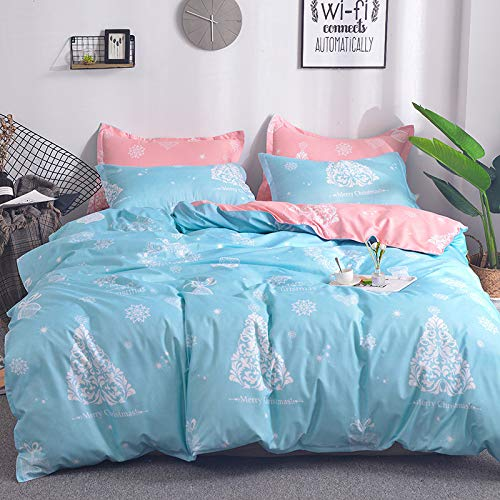 QXbecky Christmas Style Christmas Tree Bedding Quilt Cover Pillowcase 3 Set Pink Blue Christmas
