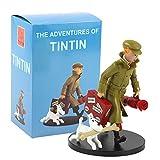 XKMY Figura de acción Juguetes 19 cm The Adventures of Tintin PVC Figura de acción Tintín Perro nevado Azul Lotus Cartoon Modelo coleccionable Juguetes Regalos (Color: B en caja)
