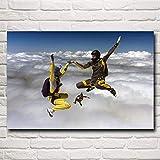 N / A Pintura sin Marco Paracaídas de Cielo de Deporte extremo20X30cm