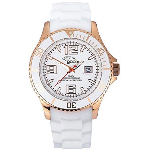 gooix GX06003019 Color Uhr Damenuhr Kautschuk Edelstahl 100m Analog Datum weiss rosé