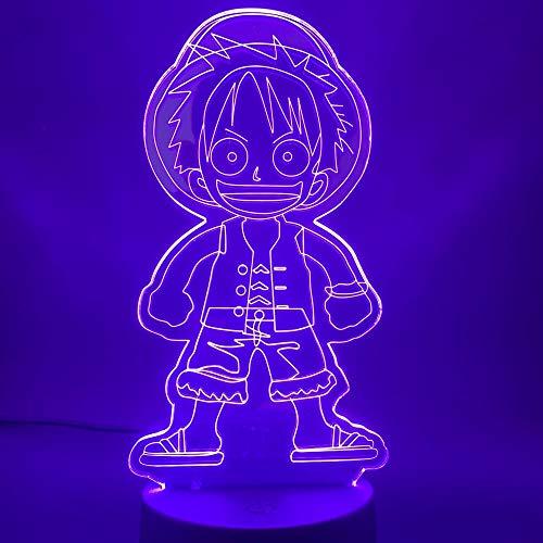 Japanse Anime Een Schattige Aap D Luffy Figuur Nachtlampje Kind Verjaardagscadeau Kinderen Slaapkamer Decoratie 3D LED Nachtlampje