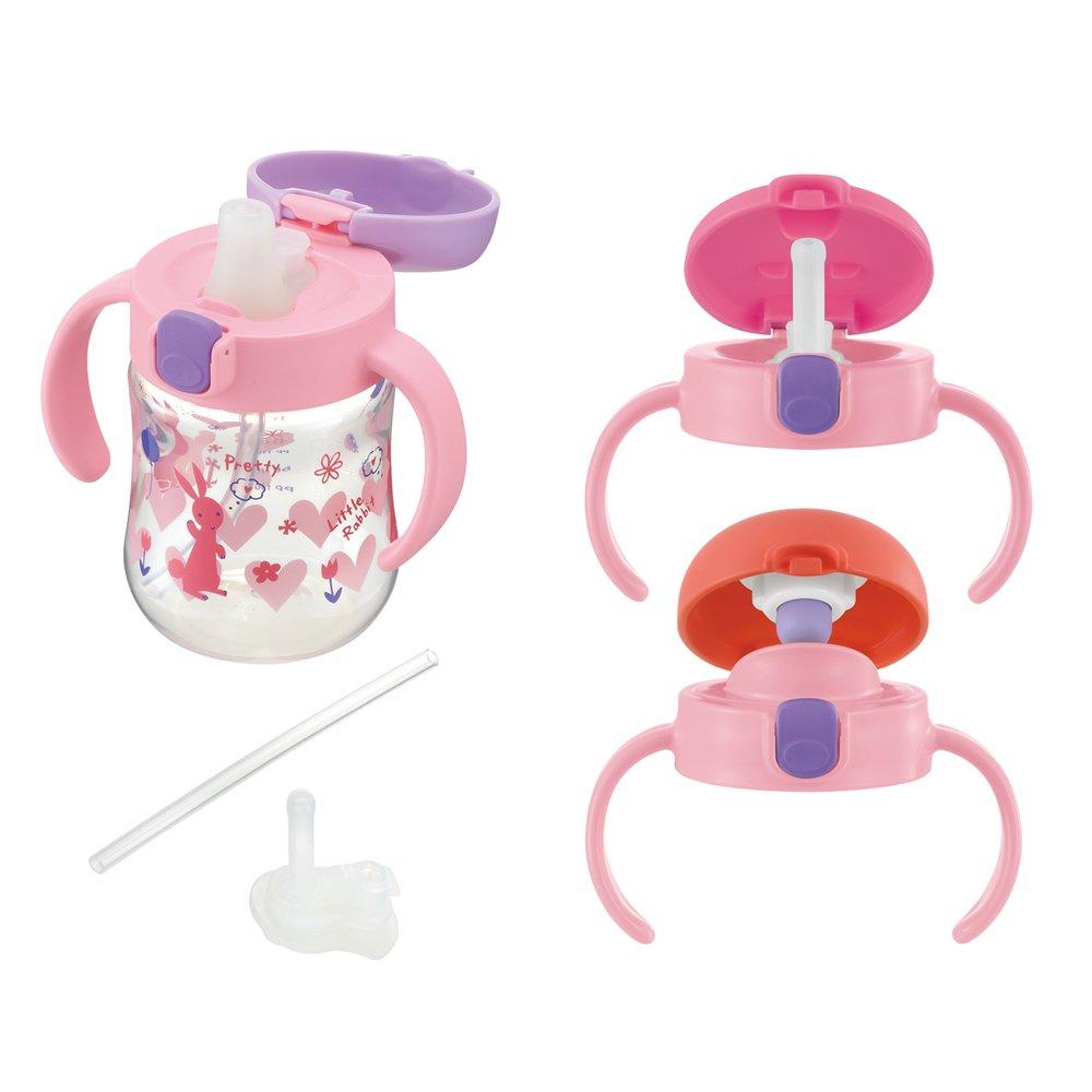 Richell 利其尔 儿童用马克杯成长套装 270毫升 粉色 适用5个月大宝宝 可配合宝宝成长搭配瓶盖