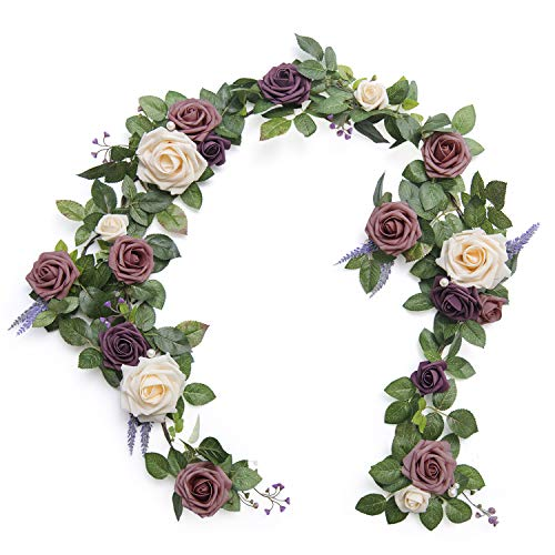 Ling's moment Handcrafted Artificial Dusty Rose Flower Garland 5FT for Wedding Table Centerpieces Arch Flowers Decorations